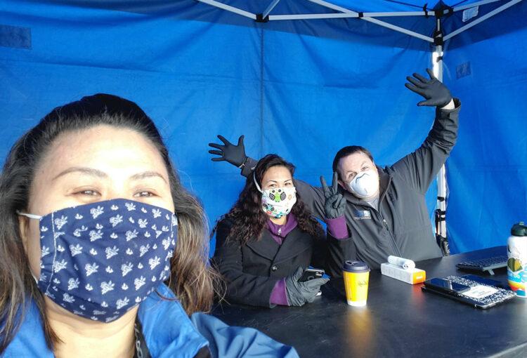 PSH Program Manager Miyuki Sato-Yazaki taking a selfie with community partners.