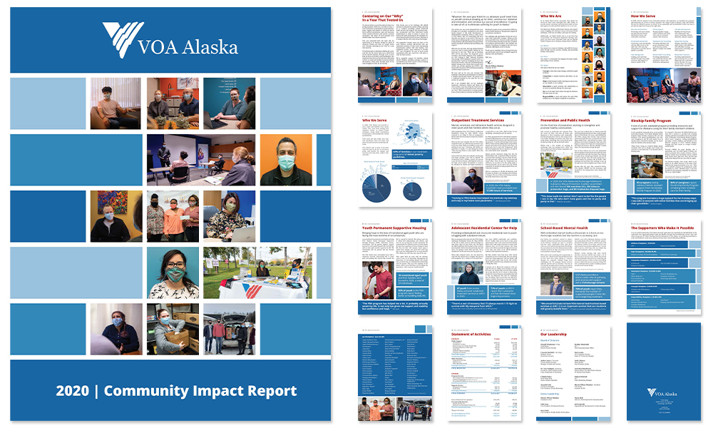Page spread of the 2020 Community Impact Report