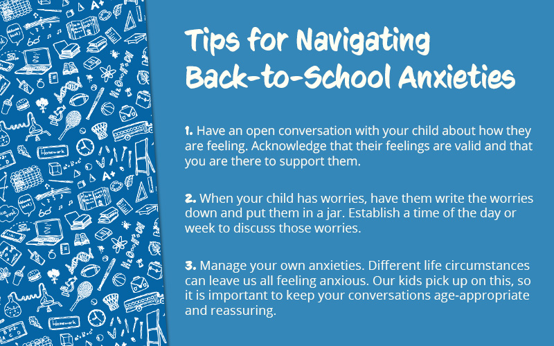 Graphic listing tips for navigating back-to-school-anxieties